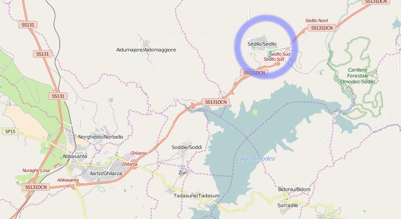 mappa del circondario di Sedilo (C) 2016 Openstreetmap Volunteers