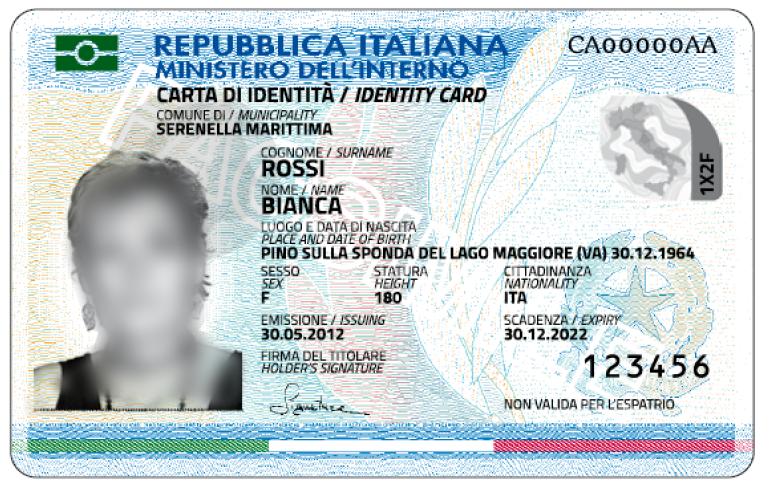 fac-simile carta identità elettronica
